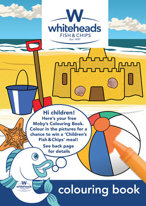 Get your Free Moby's Colouring Book at Whiteheads and Enter our Competition