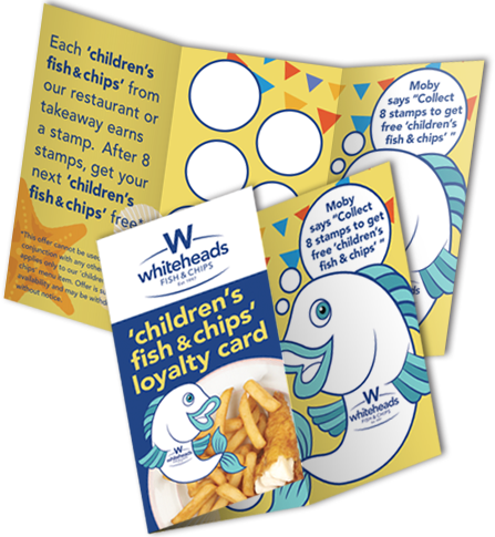 Whiteheads Childrens Fish and Chips Loyalty Card