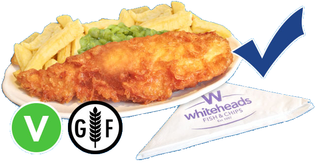 Most items on Whiteheads menus can be served Gluten Free - Look out for the Gluten Free Symbol